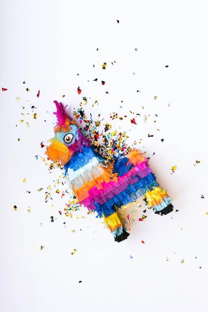 Broken rainbow llama pinata