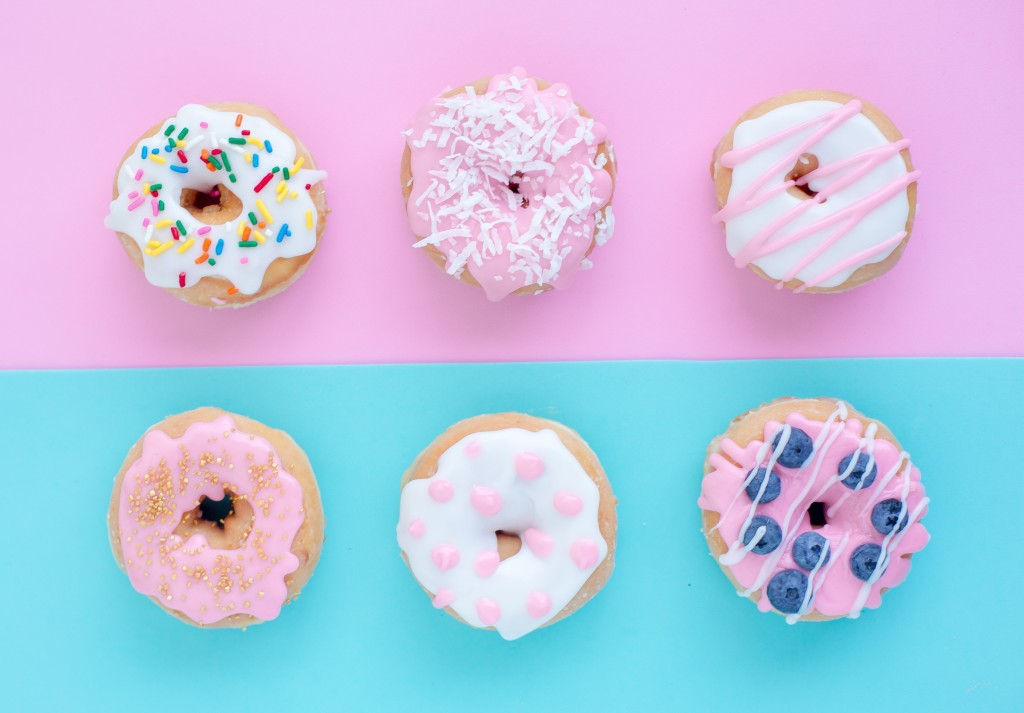 six blue and pink donuts