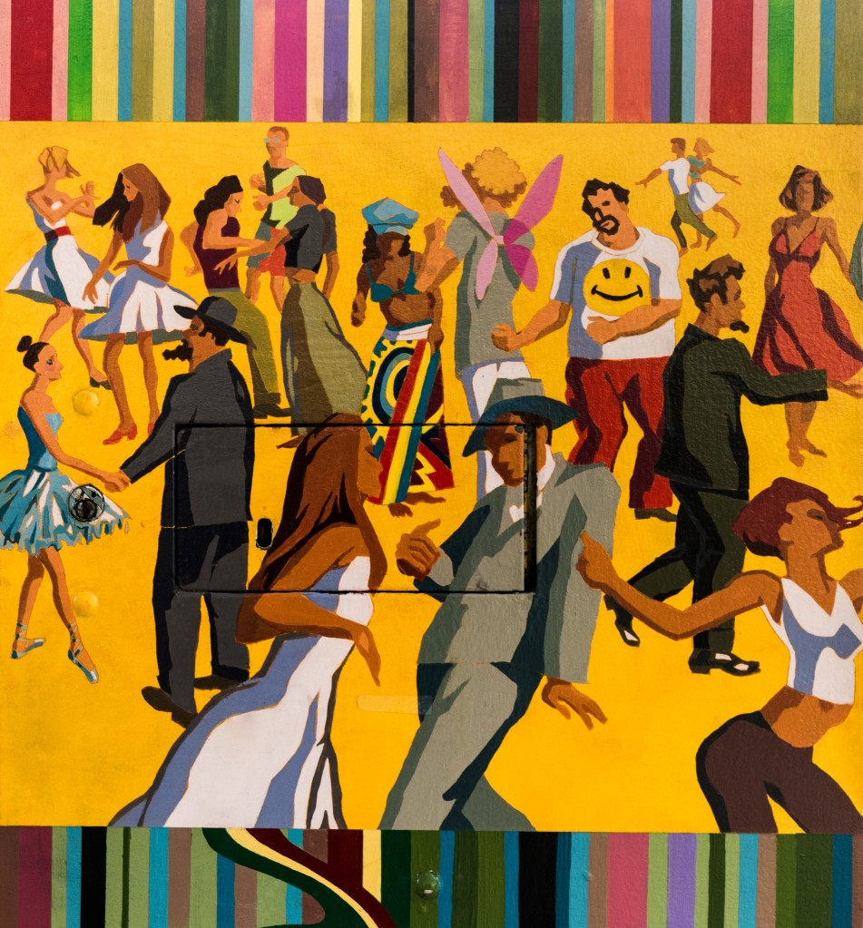 mural of people dancing and having fun
