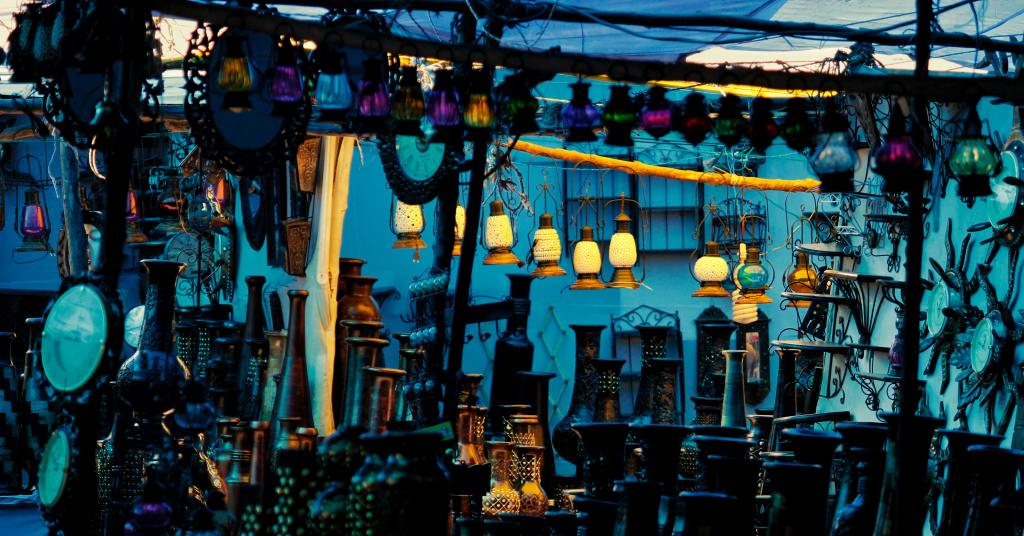 lamps at a market with blue background