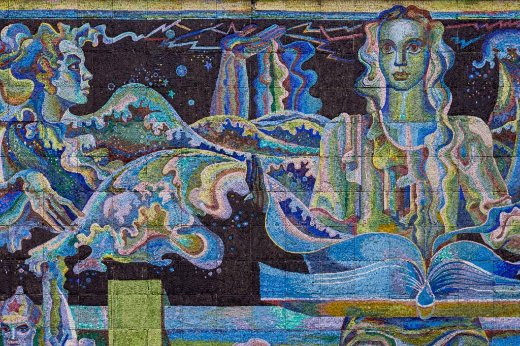 blue and green mosaic with two women