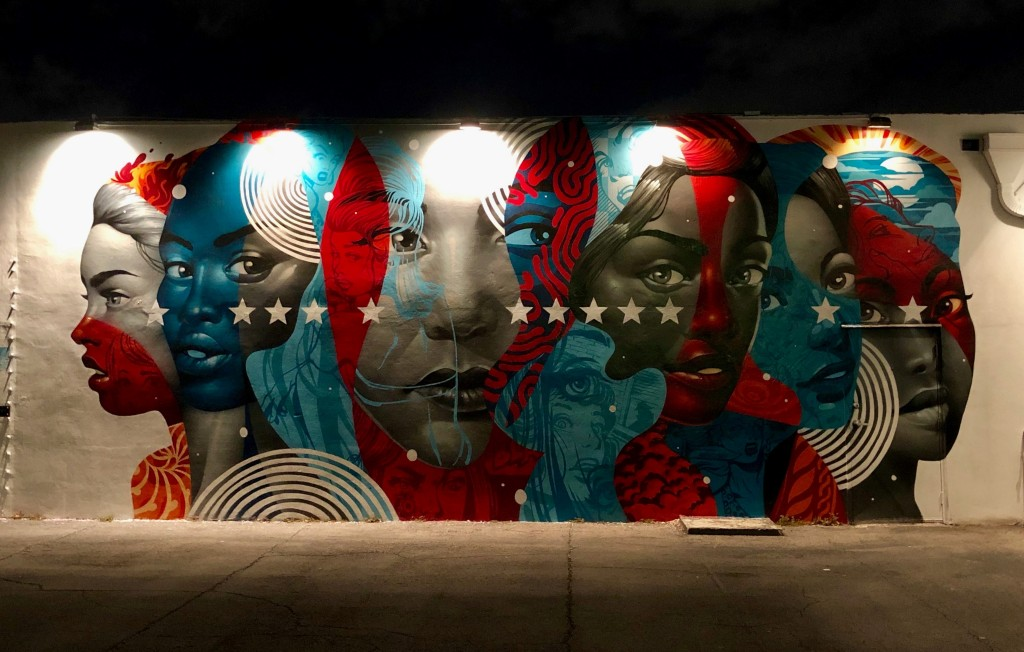 mural of diverse women with American flag colors