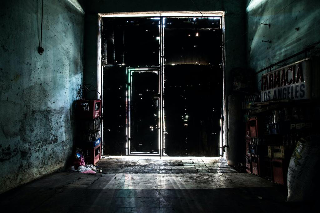 light coming through a large industrial door