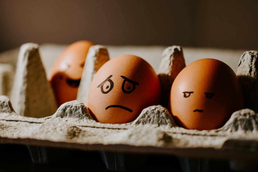 Two eggs in a carton with sharpie faces, one looking annoyed at the other's anxious face